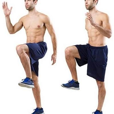 تمرین راهپیمایی در محل (فلکسورهای ران و ورزش متعادل) برای تقویت زانو