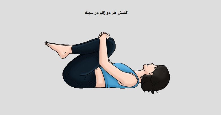 مرحله 4 کشش دو زانو در سینه (برای کشش عضلات راستکننده ستون مهرهها )